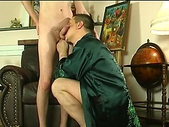 Two close male friends getting still closer with man-on-man oral and anal