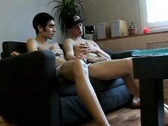 Hot twinks masturbate their nice uncut dicks on the couch!
