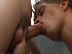 Two friends can't resist taking a big cock in their mouths!