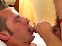 Alex and Nick fuck bareback in multiple positions before cumming while being fucked.