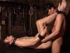 Submissive gets his asshole pounded by his horny Master here