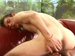 Skinny boy Billy S jerking off dick