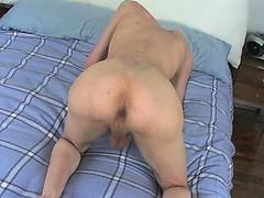 Olivier strokes his uncut dick