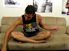 Cute and versatile boy Aaron introduces himself in an interview before revealing his big asset!