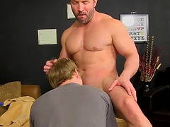 Hunky Brock Landon takes advantage of twink Anthony Evans and slams his asshole