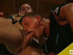Hot jocks with big bulges Dylan Knight and Rylan Knox strip down for an ass fucking in uniform
