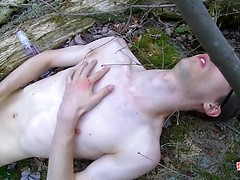 We join Sacha out in the woods, where he loves to stroke the cum from his balls